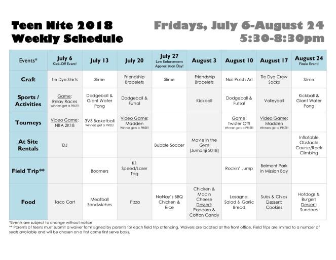 Teen Nite 2018 Flyer-Schedule2